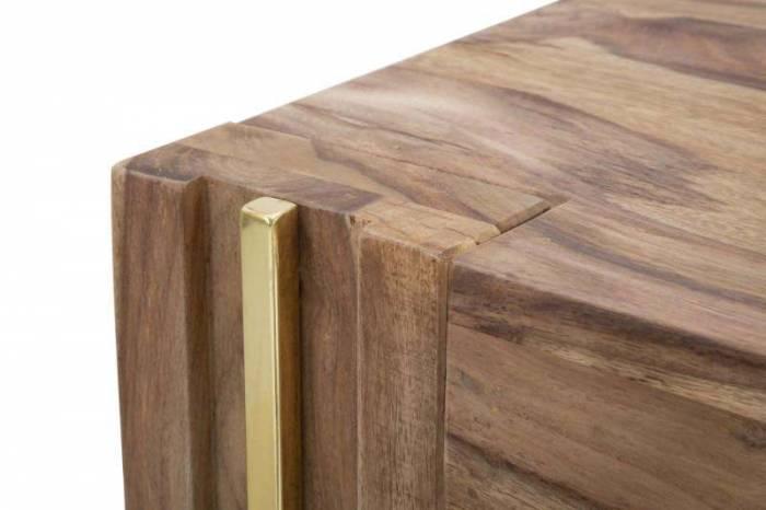 Măsuță de cafea Madge, 45x58x58 cm, lemn de sheesham/ metal, auriu/ maro