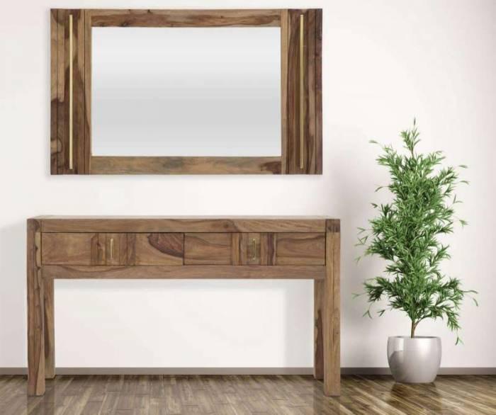 Oglindă Madge, 73x120x3 cm, lemn de sheesham/ sticla, auriu/ maro