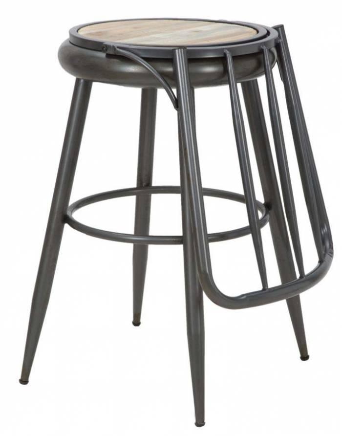 Scaun de bar Boris, 107x42x51 cm, lemn de brad/metal, maro/ negru/ gri