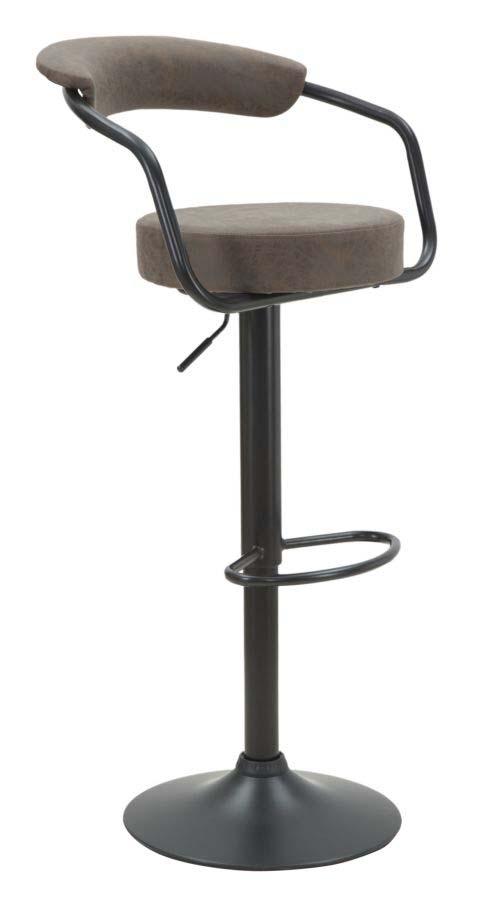 Scaun de bar Brook, 84/105x48x49 cm, metal/ pu, maro/ negru