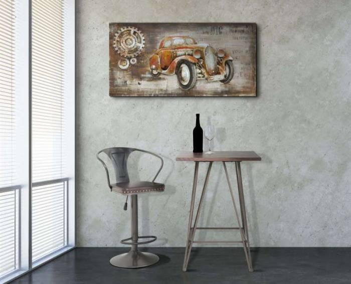 Scaun de bar Luis, 86/108x51x48 cm, metal/ pu, maro/ negru/ gri