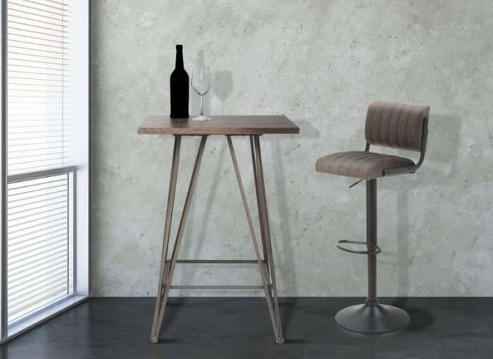 Scaun de bar Luise, 84/105x39x49 cm, metal/ pu, maro/ negru