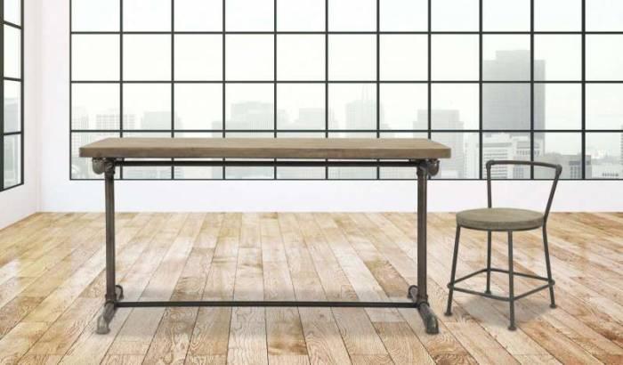 Scaun dining Brian, 68x43x48 cm, lemn de brad/ metal, maro/ bronz