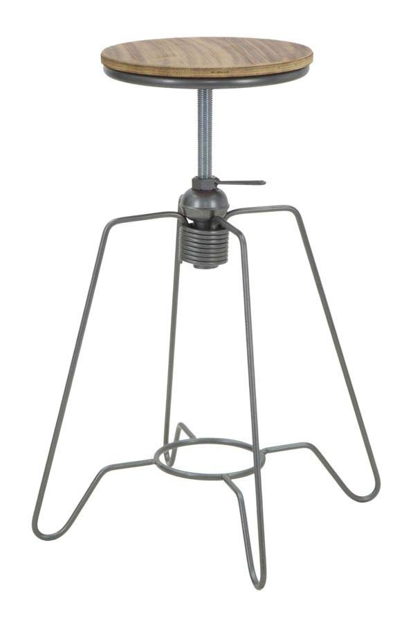 Scaun Josue, 55x39x39 cm, lemn de brad/ metal, negru/ gri/ maro