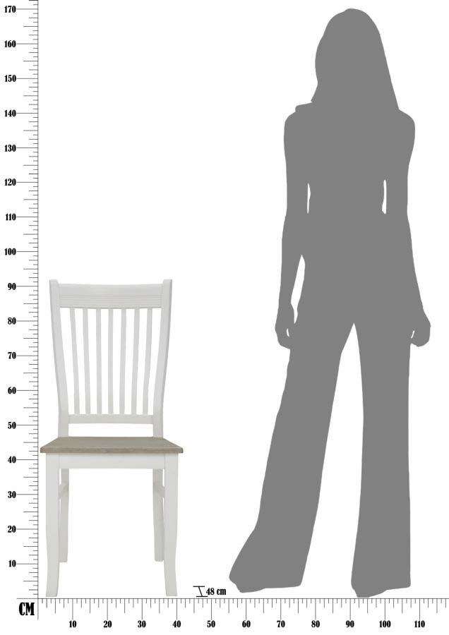 Set 2 scaune Brad, 93x48x40.5 cm, lemn de paulownia/ mdf, alb/ maro