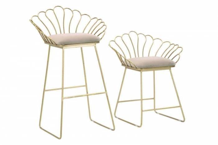Set 2 scaune de bar glam Fleur, metal/ poliester, auriu/ alb