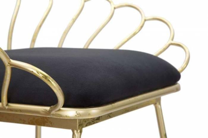Set 2 scaune de bar glam Fleur, metal/ poliester, negru/ auriu