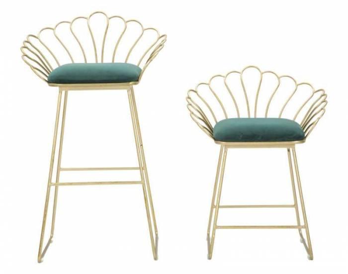 Set 2 scaune de bar glam Fleur, metal/ poliester, verde/ auriu