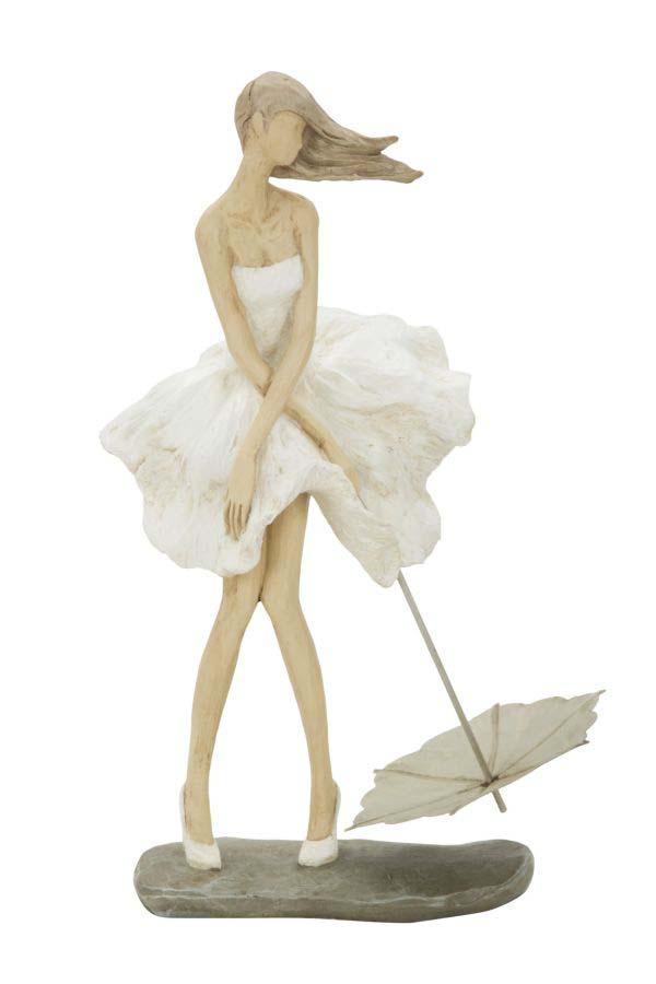Statuetă Magdalena, 31x18x11 cm, polirasina, alb/ crem