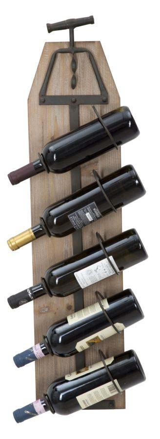 Suport sticle vin Brant, 86x20x12.5 cm, metal/ mdf, maro/ gri