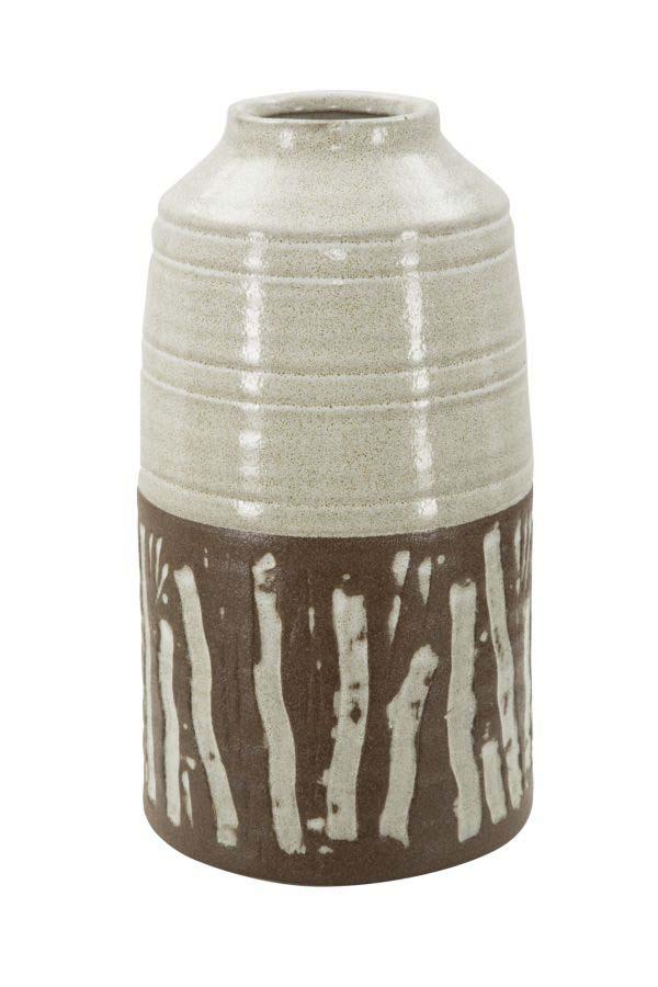 Vază decorativă Africa, 29.5x15x15 cm, ceramica, alb/ maro