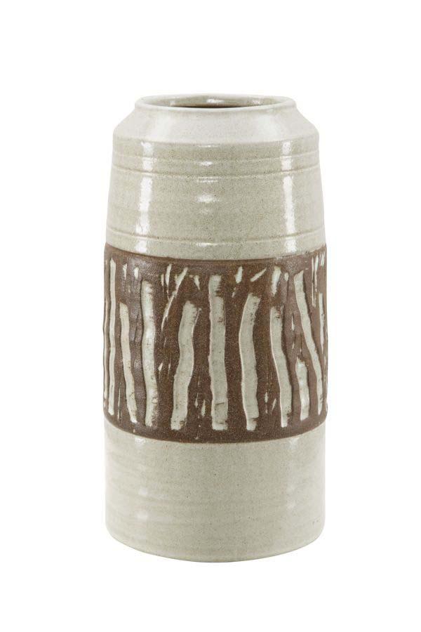 Vază decorativă Africa, 33x17x17 cm, ceramica, alb/ maro
