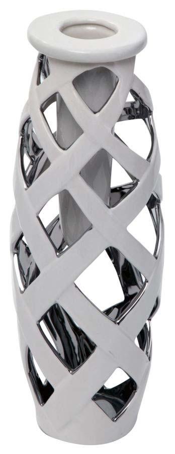 Vază decorativă Amada, 31.5x11.5x11.5 cm, ceramica, alb