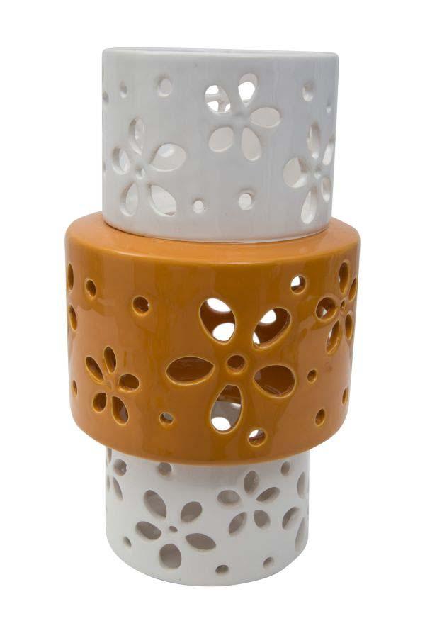 Vază decorativă Amiee, 24.5x14x14 cm, portelan, alb/ portocaliu