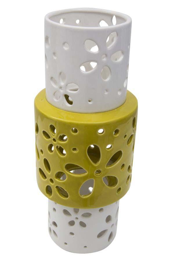 Vază decorativă Amiee, 34x14x14 cm, portelan, alb/ verde