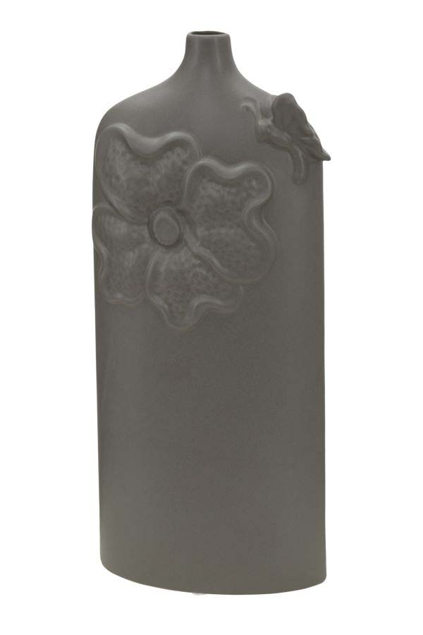 Vază decorativă Amina, 39.5x17x7.5 cm, portelan, gri
