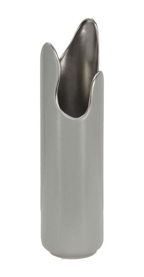 Vază decorativă Ammie, 34.5x9.5x9.5 cm, ceramica, gri