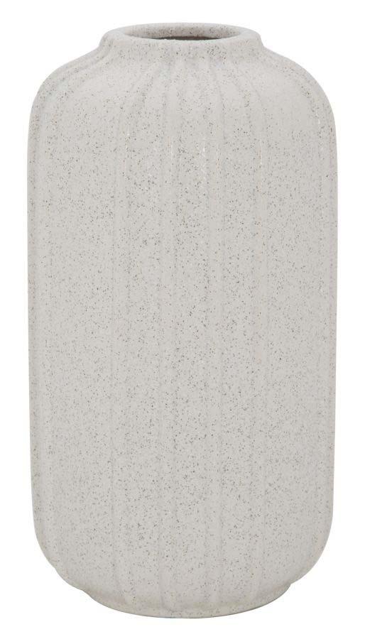 Vază decorativă Ana, 35x19.5x19.5 cm, ceramica, alb/ gri