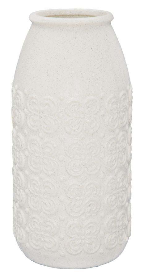 Vază decorativă Anabel, 40.5x19.5x19.5 cm, ceramica, alb/ gri