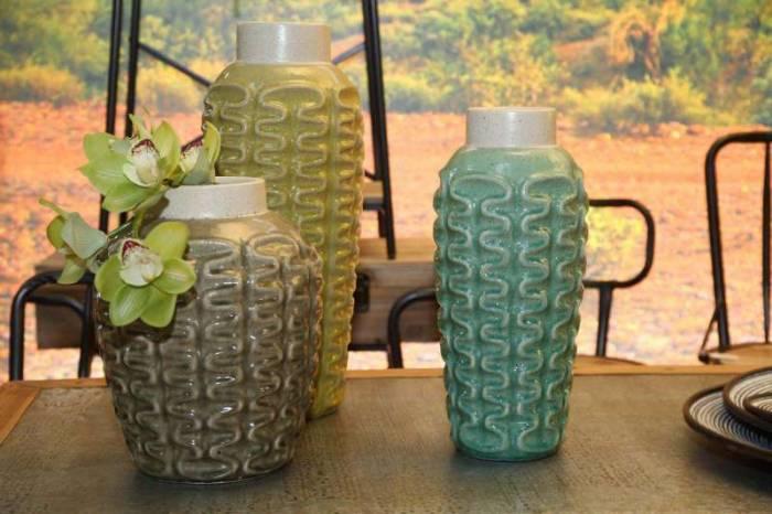 Vază decorativă Analisa, 41x18.5x18.5 cm, ceramica, verde