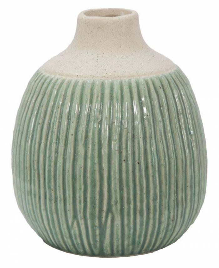 Vază decorativă Aurora, 21.5x17.5x17.5 cm, ceramica, verde