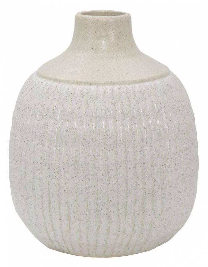 Vază decorativă Aurora, 26x21x21 cm, ceramica, alb/ gri