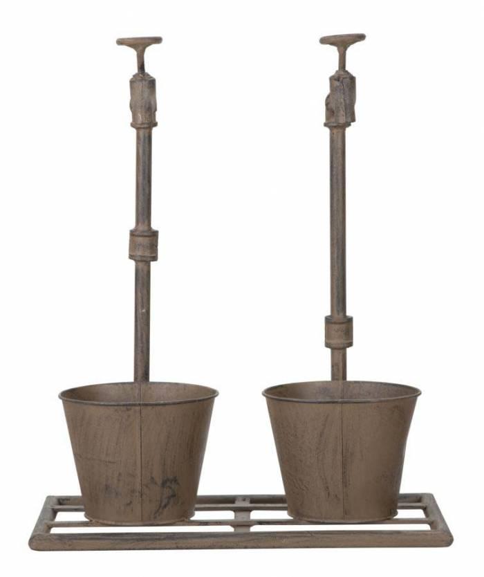 Ghiveci Aurore, 48x39x19 cm, metal, maro