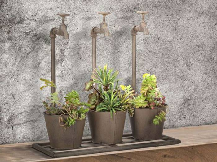 Vază decorativă Aurore, 48x49x19 cm, metal, maro