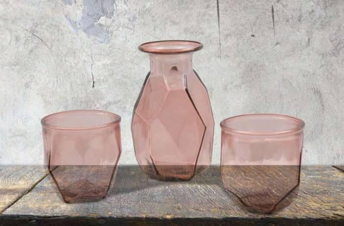 Vază decorativă Ava, 9x9x9 cm, sticla, roz