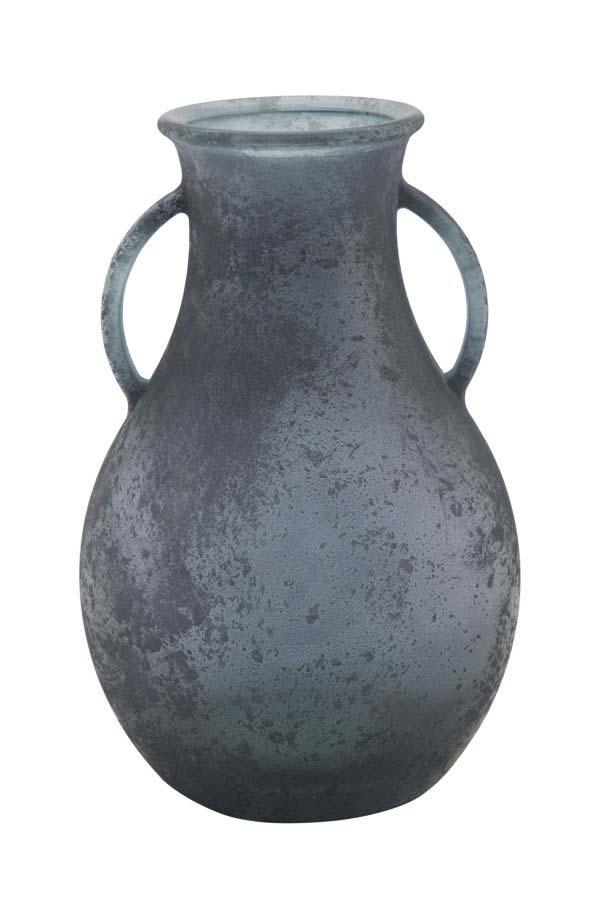 Vază decorativă Azzi, 32x20x20 cm, sticla, albastru