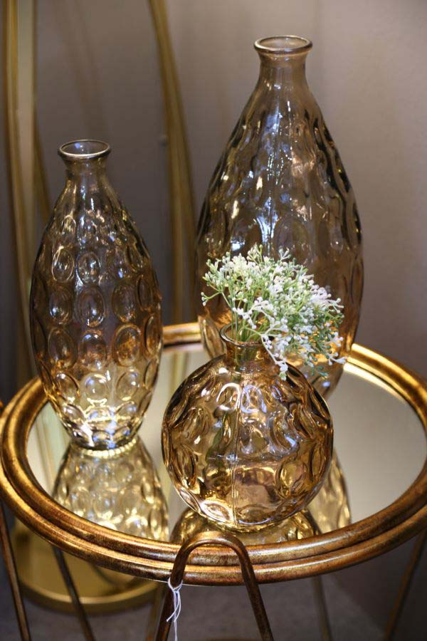 Vază decorativă Azzie, 31x15.5x15.5 cm, sticla, fumuriu
