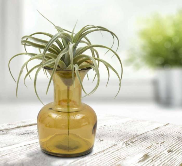 Vază decorativă Barbar, 20x14x14 cm, sticla, galben