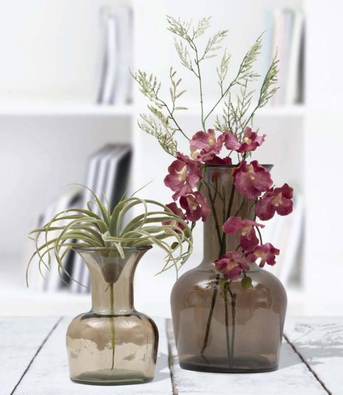 Vază decorativă Barbar, 33x19x19 cm, sticla, maro
