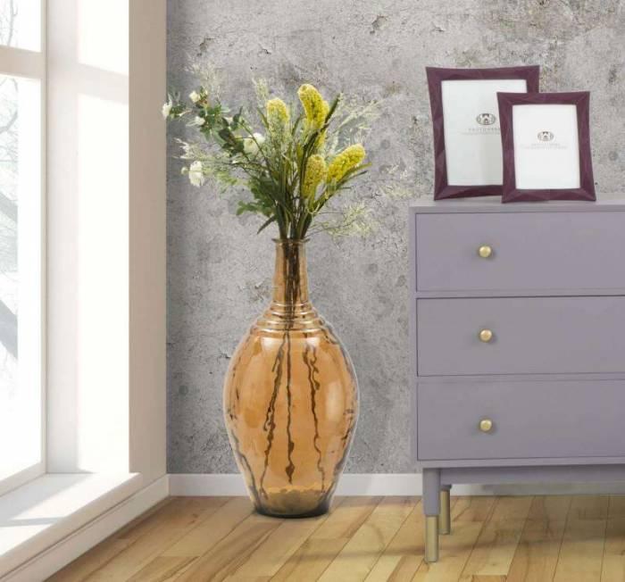 Vază decorativă Bari, 60x28x28 cm, sticla, maro