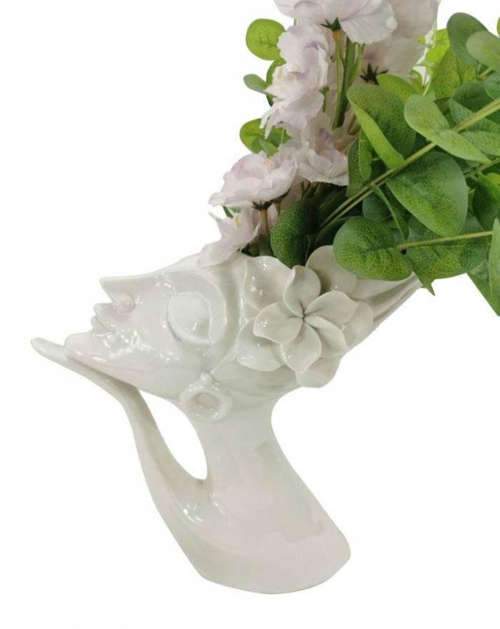 Vază decorativă Beatrice, 25,4x29x13,2 cm, portelan, alb