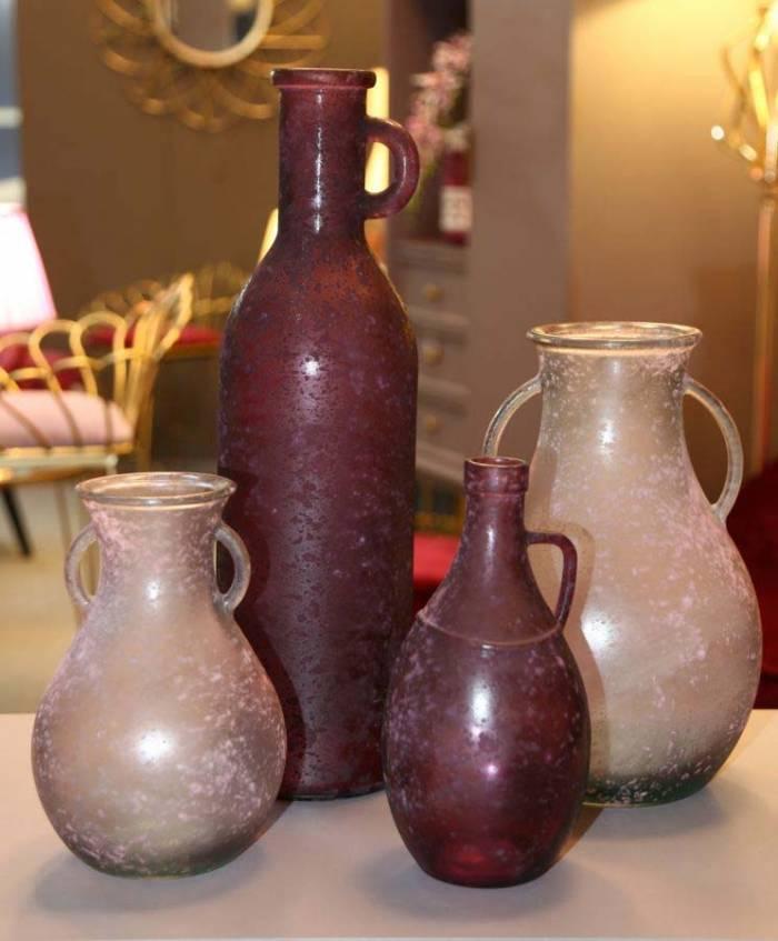 Vază decorativă Ben, 32x20x20 cm, sticla, roz