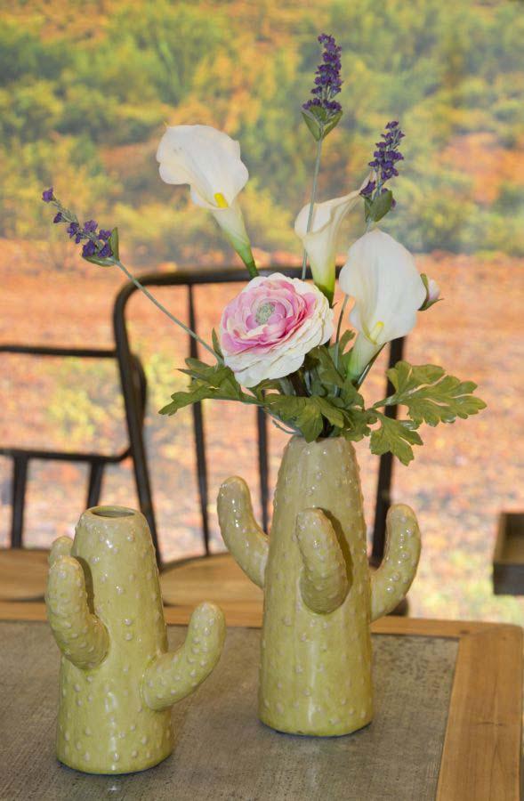 Vază decorativă Cactus, 24.5x16x15 cm, ceramica , verde