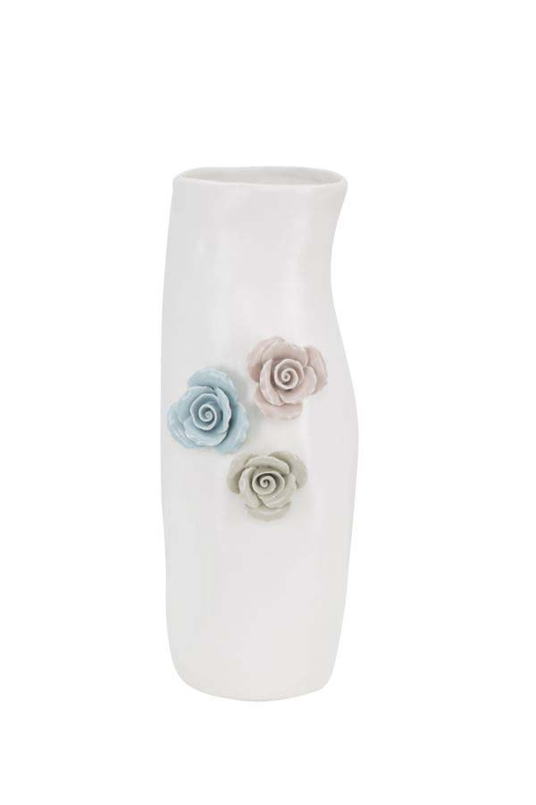 Vază decorativă Flower, 31x14x12.5 cm, portelan, alb
