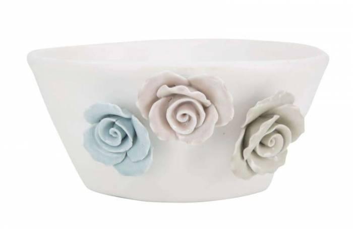 Vază decorativă Flower, 7x16x15 cm, portelan, alb