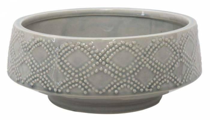 Vază decorativă Glady, 12x28.5x28.5 cm, ceramica, gri