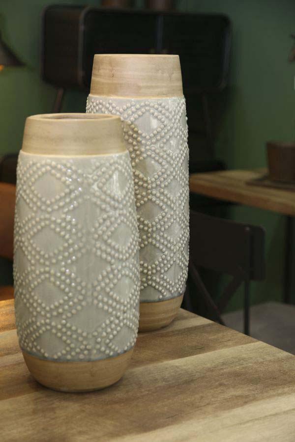 Vază decorativă Glady, 46.5x18.5x18.5 cm, ceramica, gri