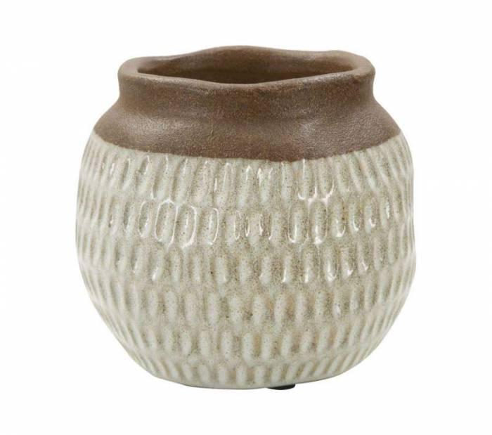 Vază decorativă Kenn, 14x15.5x15.5 cm, ceramica, maro/ gri