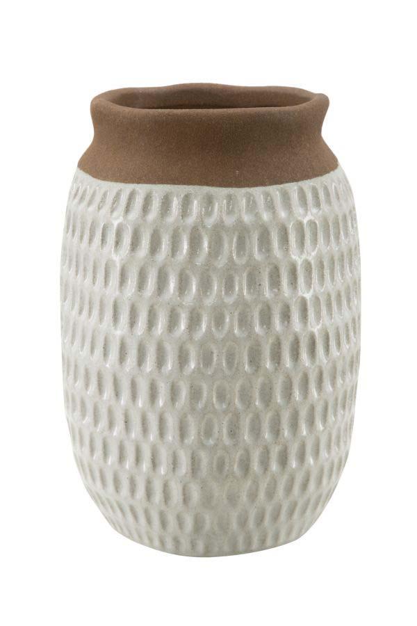 Vază decorativă Kenn, 25.5x18x18 cm, ceramica, maro/ gri
