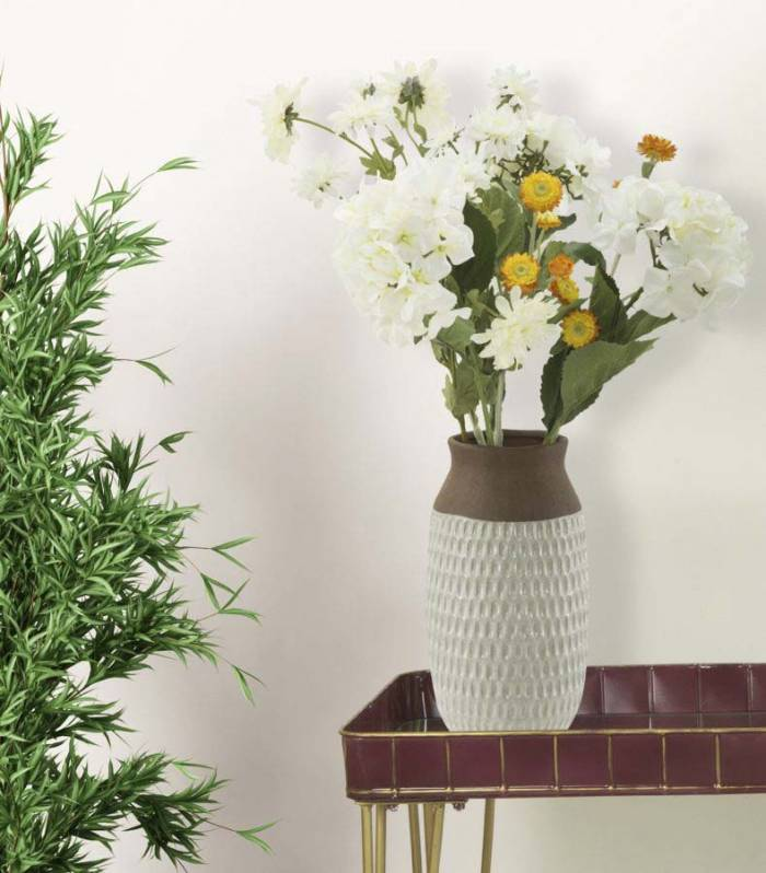 Vază decorativă Kenn, 32.5x18x18 cm, ceramica, maro/ gri