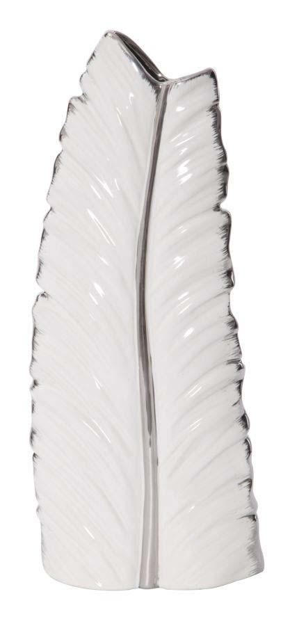 Vază decorativă Leaf, 45x18x9 cm, ceramic, alb