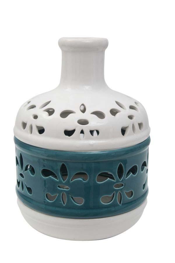 Vază decorativă Lili, 24x19x19 cm, portelan, alb/ albastru