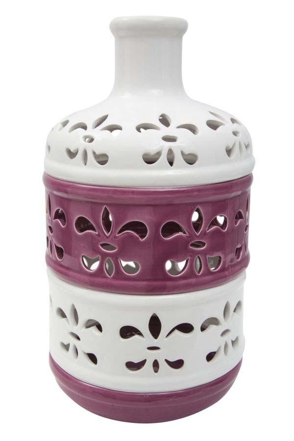 Vază decorativă Lili, 33x18.5x18.5 cm, portelan, alb/ mov