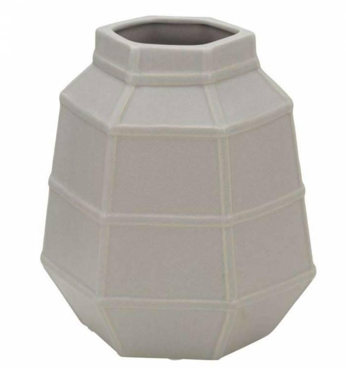 Vază decorativă Lumi, 19x16x10 cm, portelan, gri