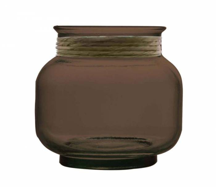 Vază decorativă Rosary, 18x20x20 cm, sticla, negru