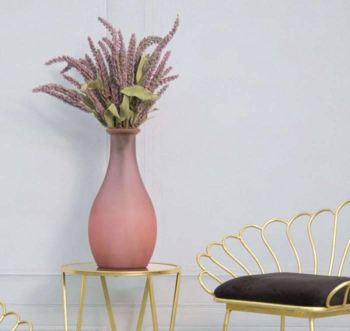 Vază decorativă Troy, 40x21x21 cm, sticla, roz